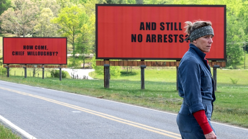 Mildred Hayes (Frances McDormand) standing by her billboards. All photos courtesy of Fox Searchlight Pictures.