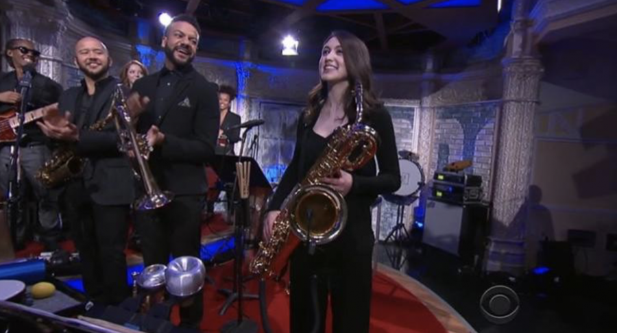 Veronica Leahy on the Steven Colbert Show (all photos courtesy of Veronica)